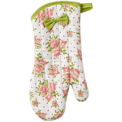 Coral Spring Rose Bunch Oven Mitt with Bow