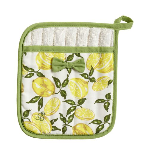 Jessie Steele Summer Lemons Square Pot Mitt with Bow