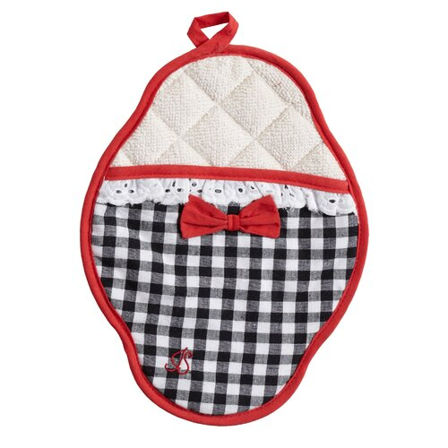 Jessie Steele Black and White Gingham Scalloped Pot Mitt with Trim
