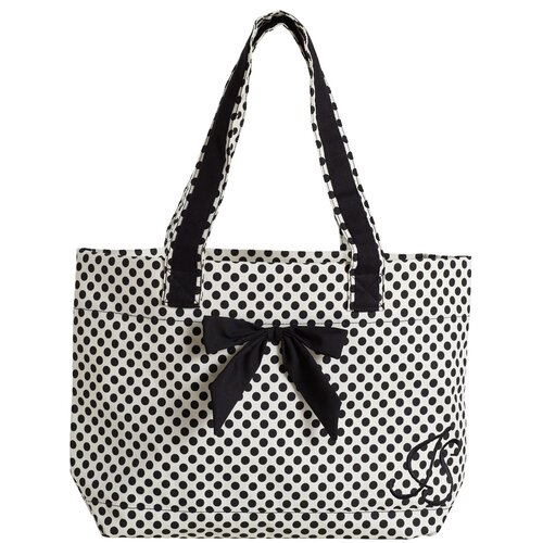 White with Black Deco Dots Tote Bag with Bow
