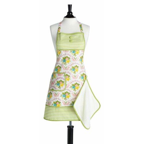 Scalloped Floral Bib Gigi Apron with Towel
