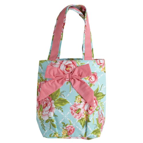 Cottage Kitchen Rose Lunch Tote Bag with Bow