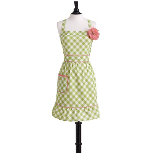 Meadow Green Gingham Bib Courtney Apron