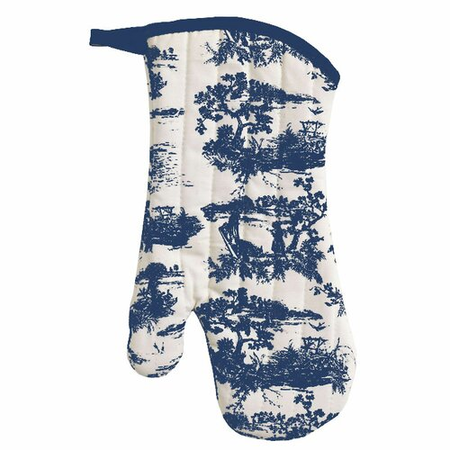 Navy French Toile Oven Mitt