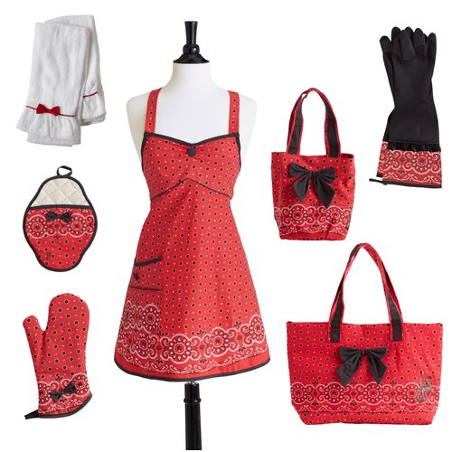 Jessie Steele Red Bandana Bow with Oven Mitt