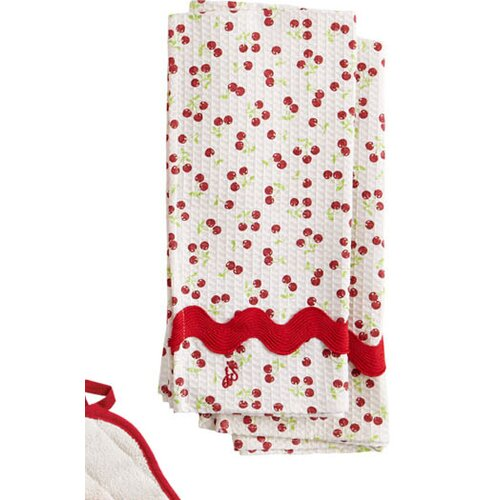 Retro Cherries Waffle Ric Rac Towel (Set of 2)