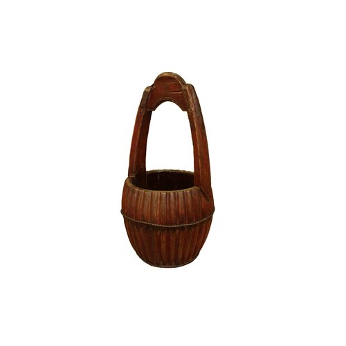 Antique Revival Hand Carved Water Bucket with Wooden Handle