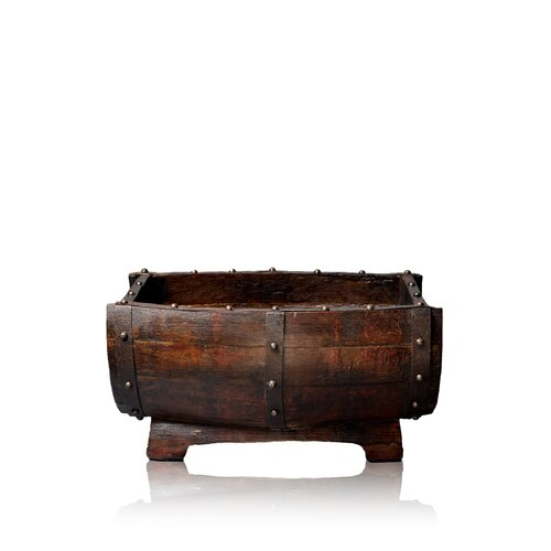 Antique Revival Half-Barrel Studded Planter