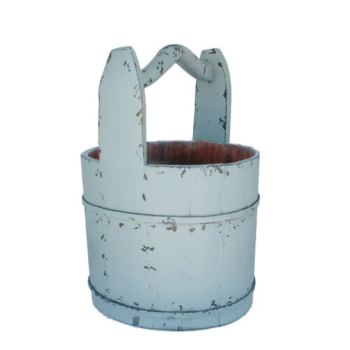 Antique Revival Vintage Water Bucket with Crested Handle