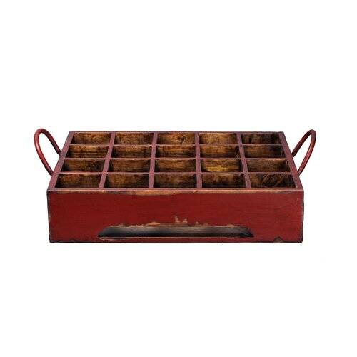 Antique Revival Distressed Rectangular Milk Crate with Iron Handles