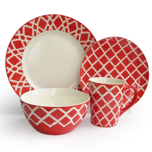 Plaid 16 Piece Dinnerware Set