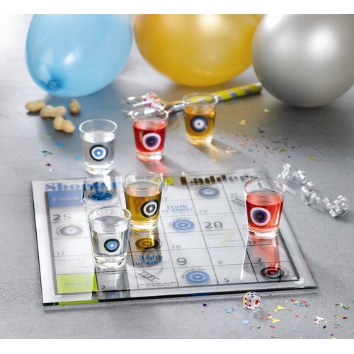 Crystal Clear Game Night 9 Piece Drinking Shoot and Ladder Game Set