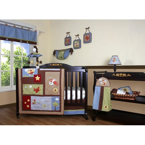 Geenny Boutique Airplane Aviator 12 Piece Crib Bedding Set