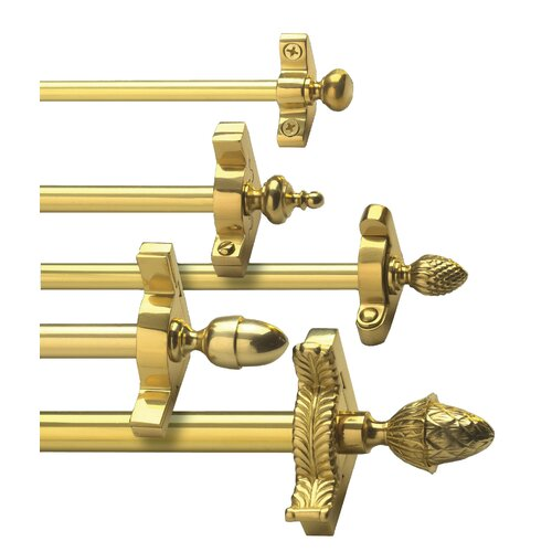 "Zoroufy Heritage 108"" Solid Stair Rod Set Extended Brackets Urn Finial"