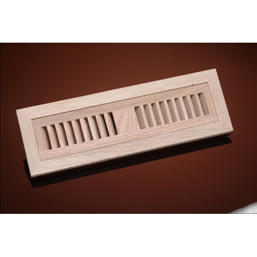 "Zoroufy 1"" x 4.38"" Red Oak Flush Mount Floor Vent"