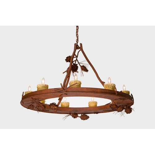 Steel Partners Ponderosa Pine 9 Light Candle Steel Creek Chandelier