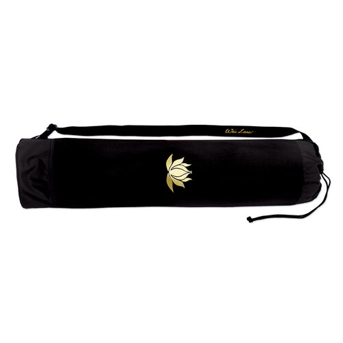 Black Lotus Tote Bag with Gold Lotus