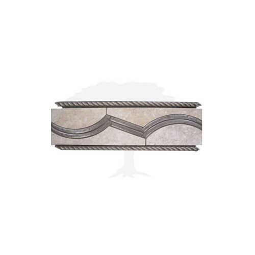 "Interceramic Montreaux 12"" x 4"" Ceramic Border Tile in Gris/Nickel"