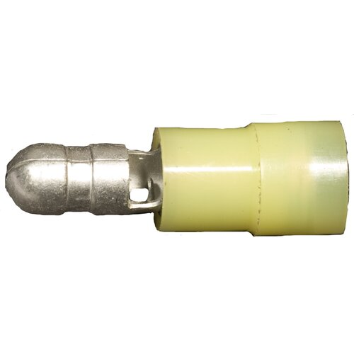 "Morris Products Nylon Insulated Double Crimp Bullet Disconnects in Yellow with 12""-10"" Wire and 0.2"" Bullet"
