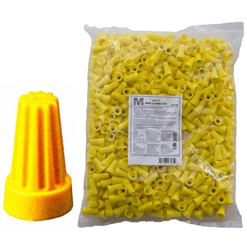 Morris Products Screw-On Wire P4 Connectors in Yellow (Bagged 500 Bulk Pack)