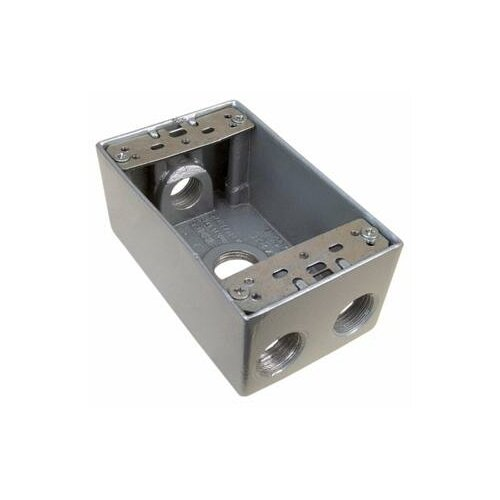 "Morris Products 4.5"" Weatherproof Boxes in Gray with 4 Outlet Holes"