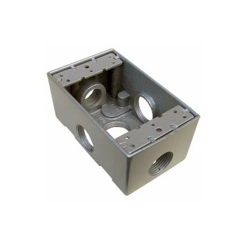 """Morris Products 2.75"""" Weatherproof Boxes in Gray with 5 Outlet Holes"""