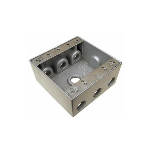 """Morris Products 4.5"""" x 4.5"""" Weatherproof Boxes in Gray with 7 Outlet Holes"""