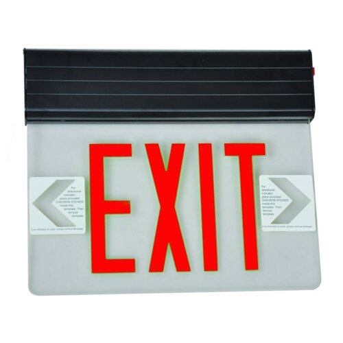 Morris Products Surface Mount Edge Lit LED Exit Sign with Red on Clear Panel and Black Housing