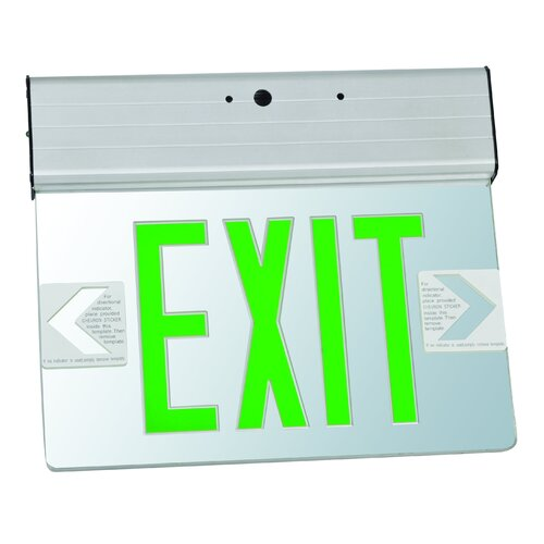Morris Products Surface Mount Edge Lit LED Exit Sign with Green on Clear Panel and Aluminum Housing