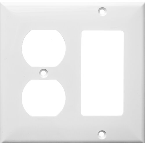 Morris Products 2 Gang 1 GFCI 1 Duplex Lexan Wall Plates in White