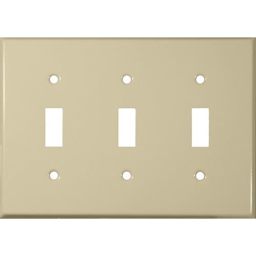 Morris Products Three Gang and Toggle Switch Metal Wall Plates in Ivory