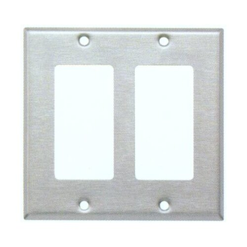 Morris Products Two Gang Decorator and GFCI Metal Wall Plates in Stainless