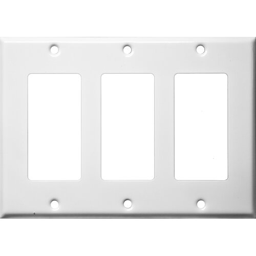Morris Products Three Gang Decorator and GFCI Metal Wall Plates in White