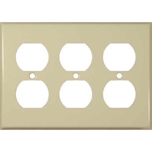 Morris Products Three Gang and Duplex Receptacle Metal Wall Plates in Ivory