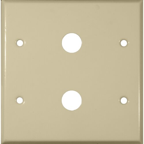 """Morris Products 0.63"""" Two Gang Cable Metal Wall Plates in Ivory"""