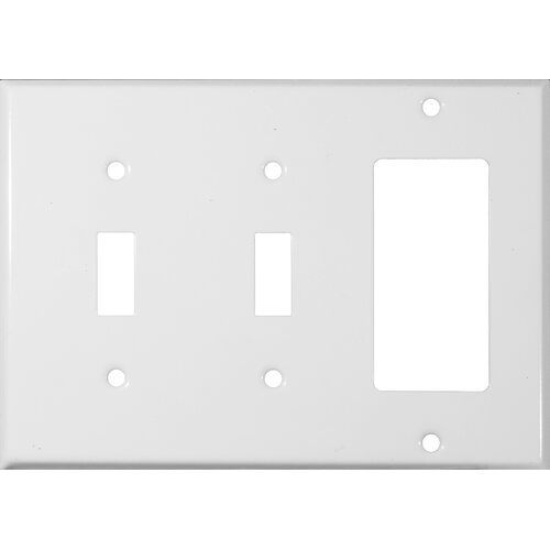Morris Products 3 Gang 2 Toggle 1 GFCI Stainless Steel Metal Wall Plates in White