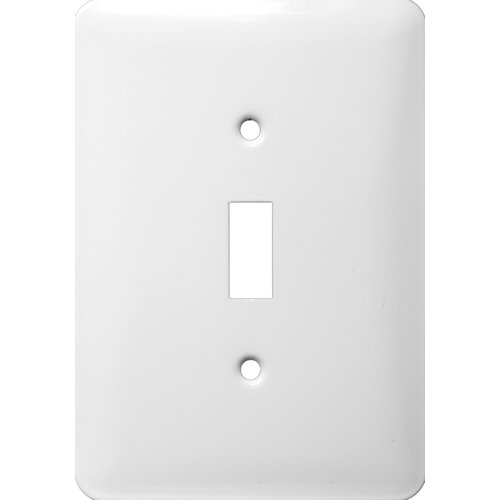 Morris Products Midsize 1 Gang Stainless Steel Metal Wall Plates Toggle Switch in White