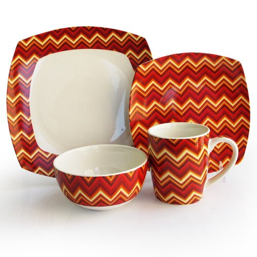 Waverly Zigzag 16 Piece Dinnerware Set