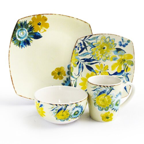 Waverly Fiore Di Acqua 16 Piece Dinnerware Set