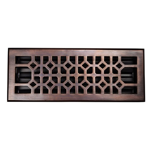 "The Copper Factory Decorative 4"" x 12"" Floor Register with Damper"