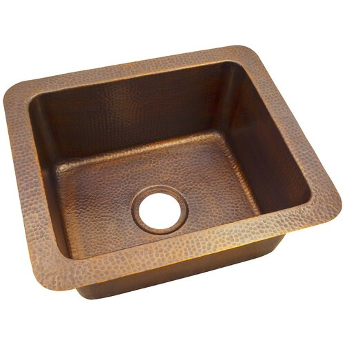 "The Copper Factory 18"" x 12"" Solid Hand Hammered Single Bowl Drop-In/Undermount Kitchen Sink"