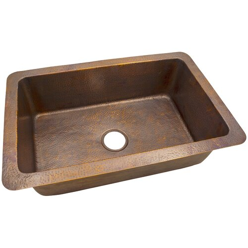 32 x 21 solid hand hammered large single bowl drop in - Copper drop in kitchen sink ...