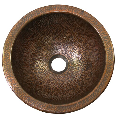 The Copper Factory Small Round Self-Rimming Bathroom Sink