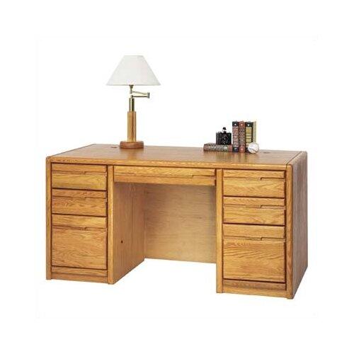 Martin Home Furnishings Contemporary Medium Oak Double Pedestal Executive Desk