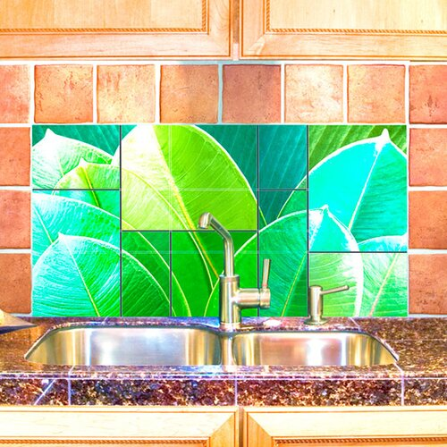 LMT Tile Murals Leaves Kitchen Tile Mural in Multi-Colored