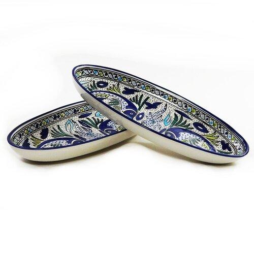 "Le Souk Ceramique Aqua Fish Design 16"" Oval Platter"