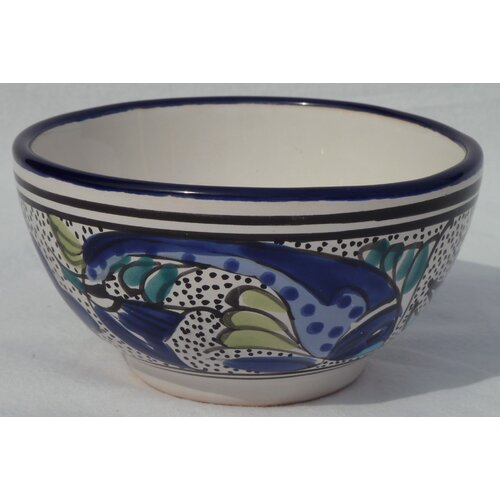 Le Souk Ceramique Aqua Fish Design Soup / Cereal Bowl