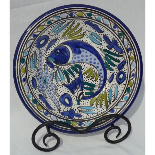 "Le Souk Ceramique Aqua Fish Design 9"" Pasta/Salad Bowl (Set of 4)"