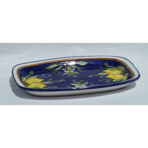 "Le Souk Ceramique Citronique Design 13"" Rectangular Platter"