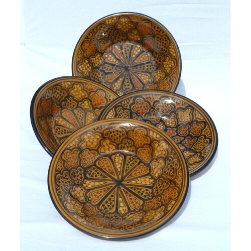 "Le Souk Ceramique Honey Design 9"" Pasta / Salad Bowl (Set of 4)"
